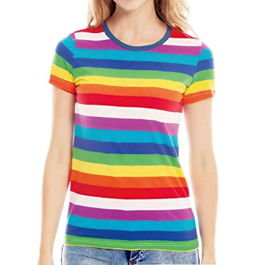 fb94ea968 Women Rainbow T Shirts Colorful Striped Crew Neck Short Sleeve Stripe Tees  Tops at Amazon Women's Clothing store: