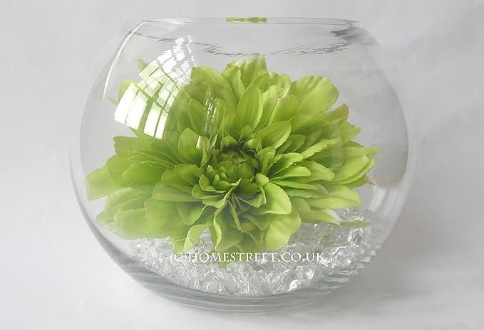 Vidrio claro pecera de flores artificiales de Margarita y cristales por Homestreet: Amazon.es: Hogar