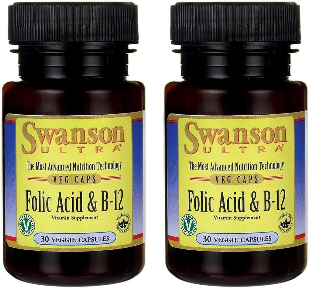 Swanson Folic Acid & Vitamin B-12 30 Veg Capsules (2 Pack)