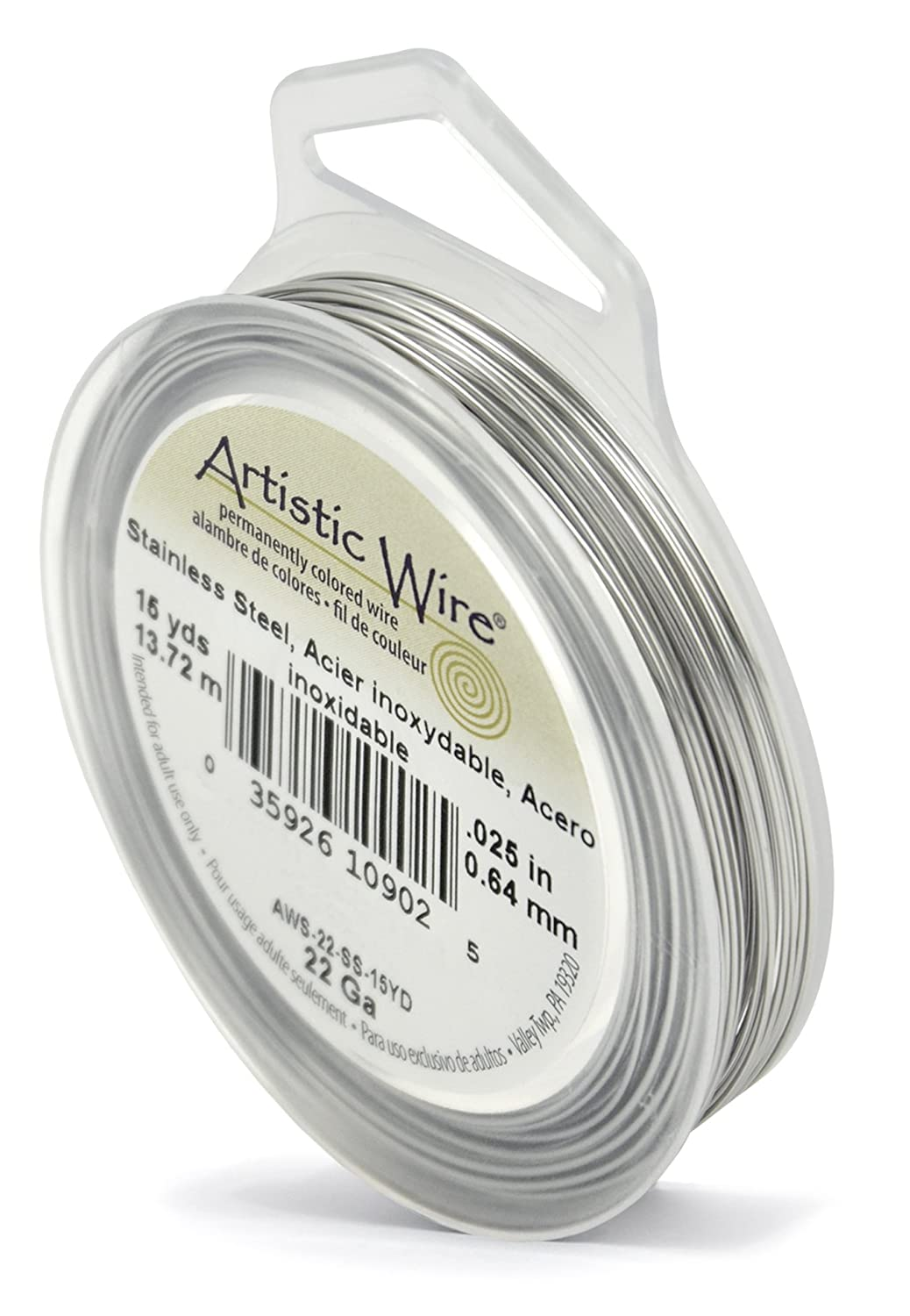 Beadalon AWS-22-SS-15YD 22 Gauge Artistic Wire, Stainless Steel, 15-Yard