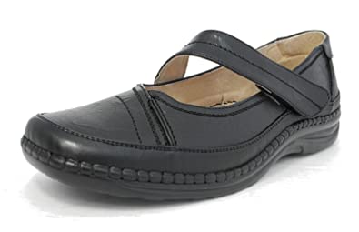 91e4b4cc284 Womens Ladies X Wide EEE Fit Leather Lined Shoes Touch Fastening ...
