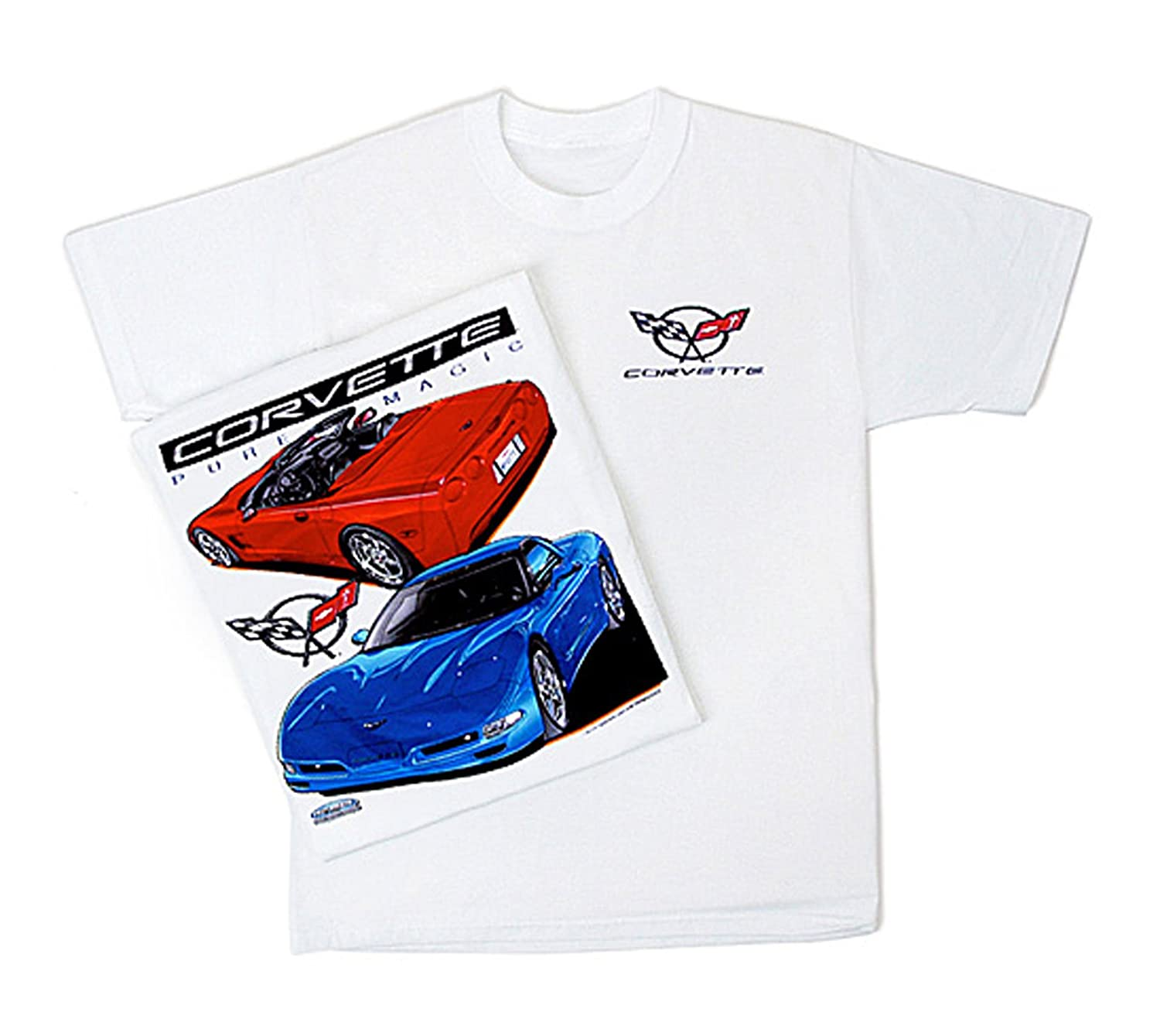 Gregs Automotive Corvette Pure Magic Chevrolet Chevy T Shirt Bundle of 2 Items One T-Shirt and One Racing Decal