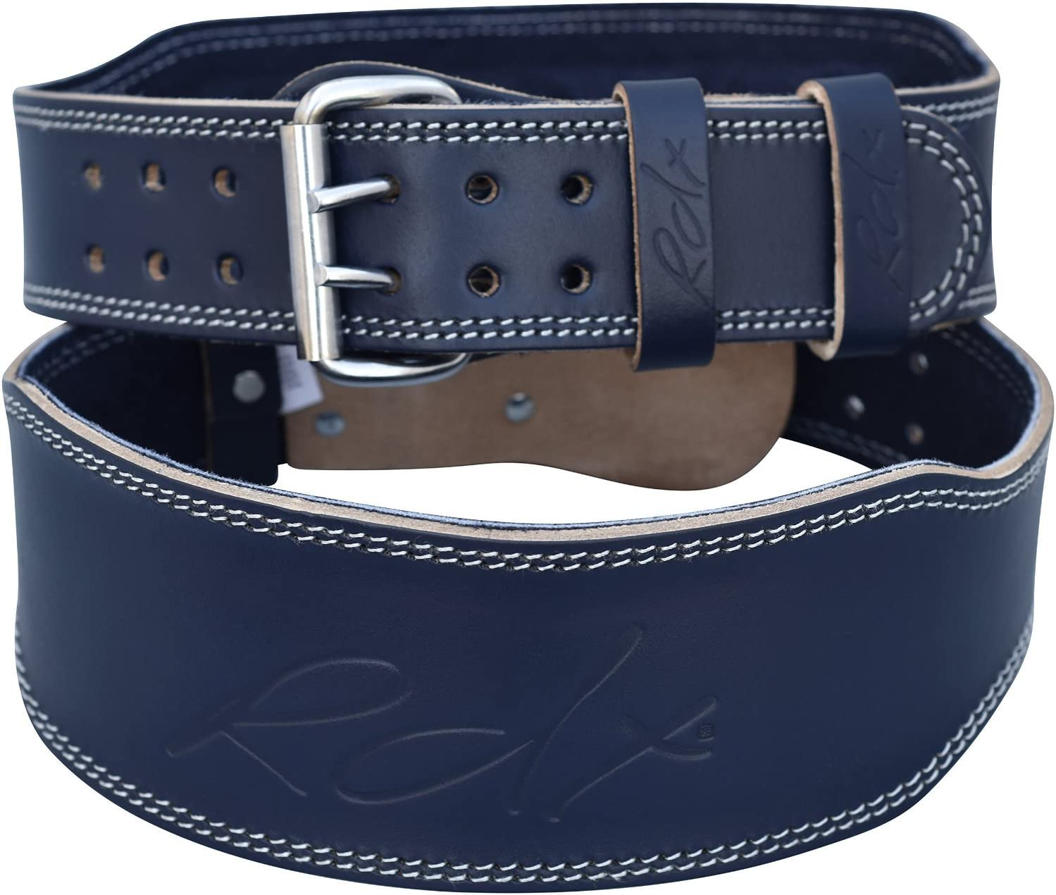 """Double Prong Cowhide Leather Belt with 4/"""" Padded Lumbar Back Support Deadlifts Workout /& Squats Exercise RDX Weight Lifting Belt for Fitness Gym Training Great for Bodybuilding Powerlifting"""