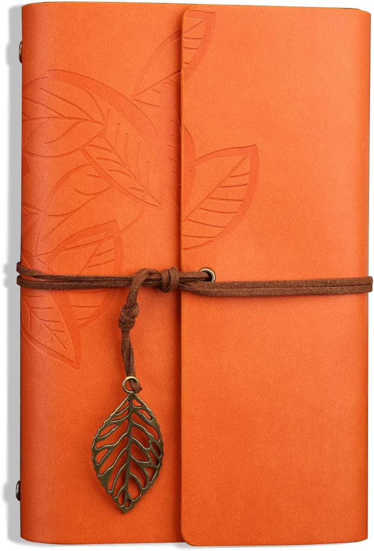 Orange Unlined Paper Twoworld Small Vintage Blank String Diary Notepad Sketchbook Travel to Write in Leather Writing Journal Notebook Retro Leaves Pendants 5.7Inches