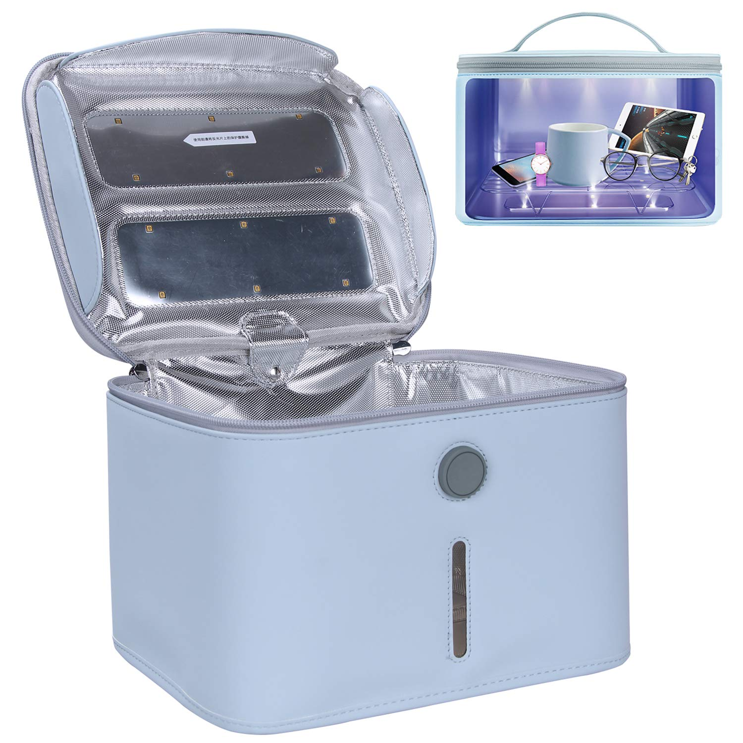 Beauty Tools LED UVC Sterilizer Cleaner Bag Portable Large Size Light Box for Phone UV Sanitizer Box 99/% Cleaned within 3 mins Blue