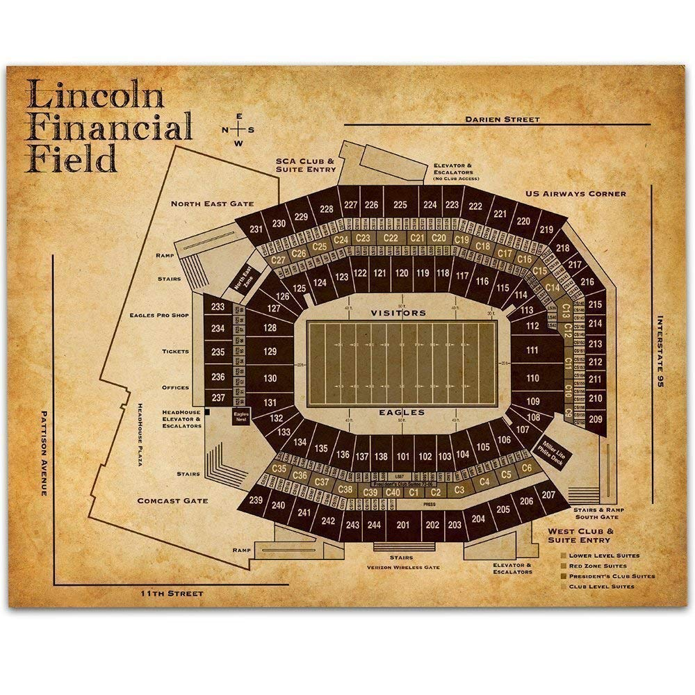 Lincoln Financial Field of Philadelphia Football Seating Chart - 11x14 Unframed Art Print - Great Sports Bar Decor and Gift Under $15 for Football Fans