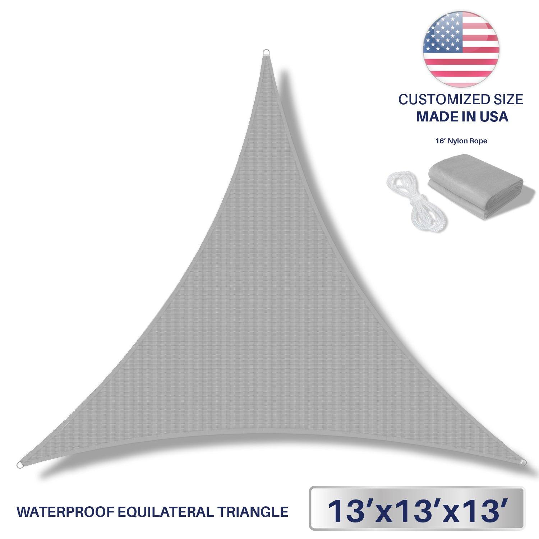 Windscreen4less Terylene Waterproof Sun Shade Sail UV Blocker Triangle Sunshade Patio Canopy Sail 13' x 13' x 13' in Color Light Grey - Customized Sizes