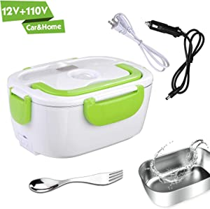 Electric Lunch Box for Car and Home 110V & 12V 40W - Removable Stainless Steel Portable Food Grade Material Warmer Heater - with 2 in 1 Fork & Spoon (Green)