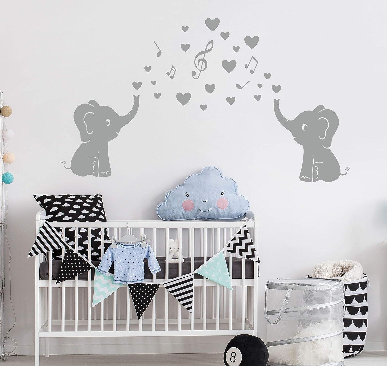 m/úsica Bdecoll Cute elefante familia con corazones pared dodoskinz la habitaci/ón del beb/é decoraci/ón habitaci/ón de los ni/ños pegatinas de pared
