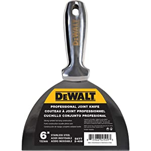 DEWALT One-Piece Stainless Steel Joint Knife, 6-Inch | Professional-Grade Putty Blade, Premium Polished Metal | 2-406