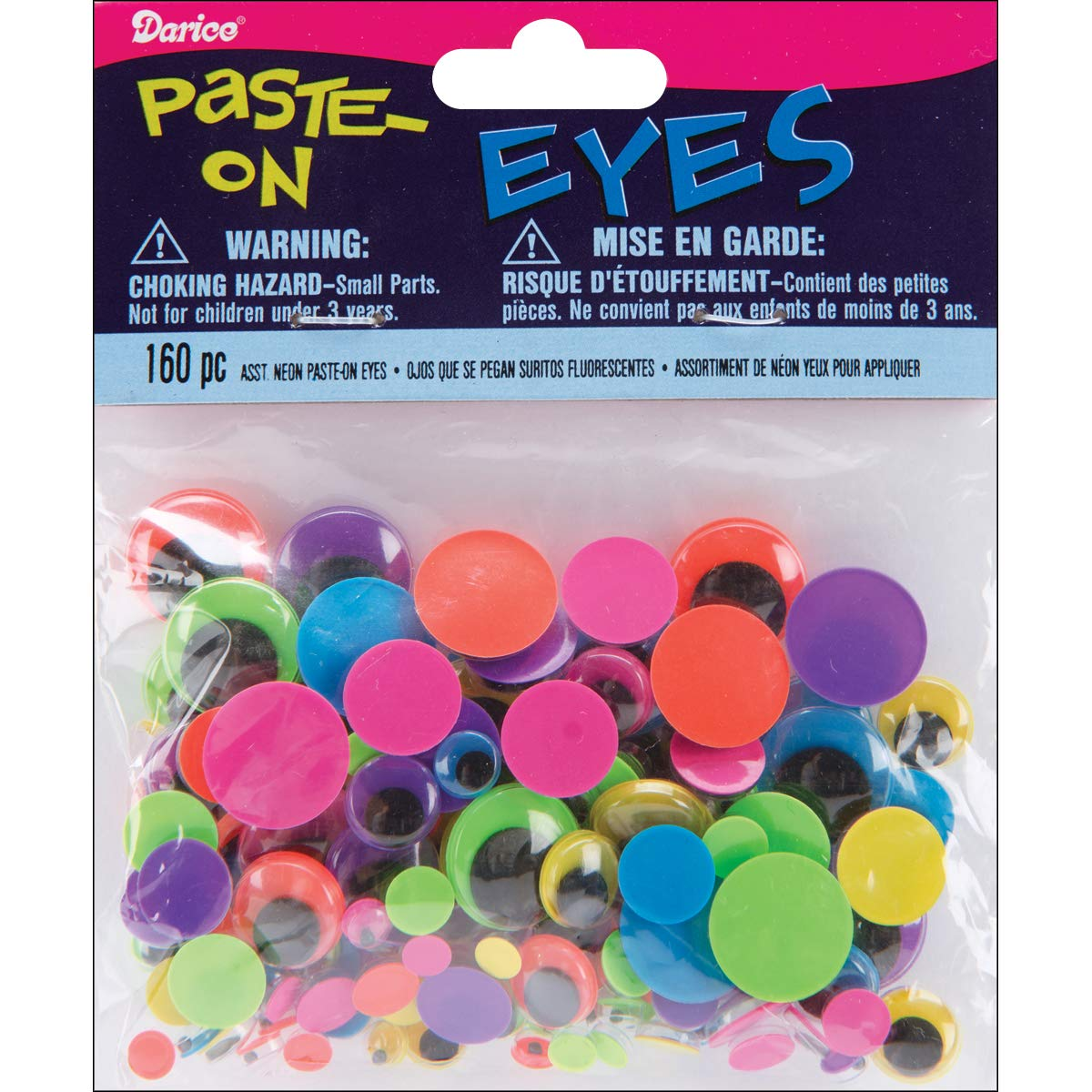 Wiggle Eyes Assorted Sizes and Colors Black On Neon, 160 Pieces (8 Pack)