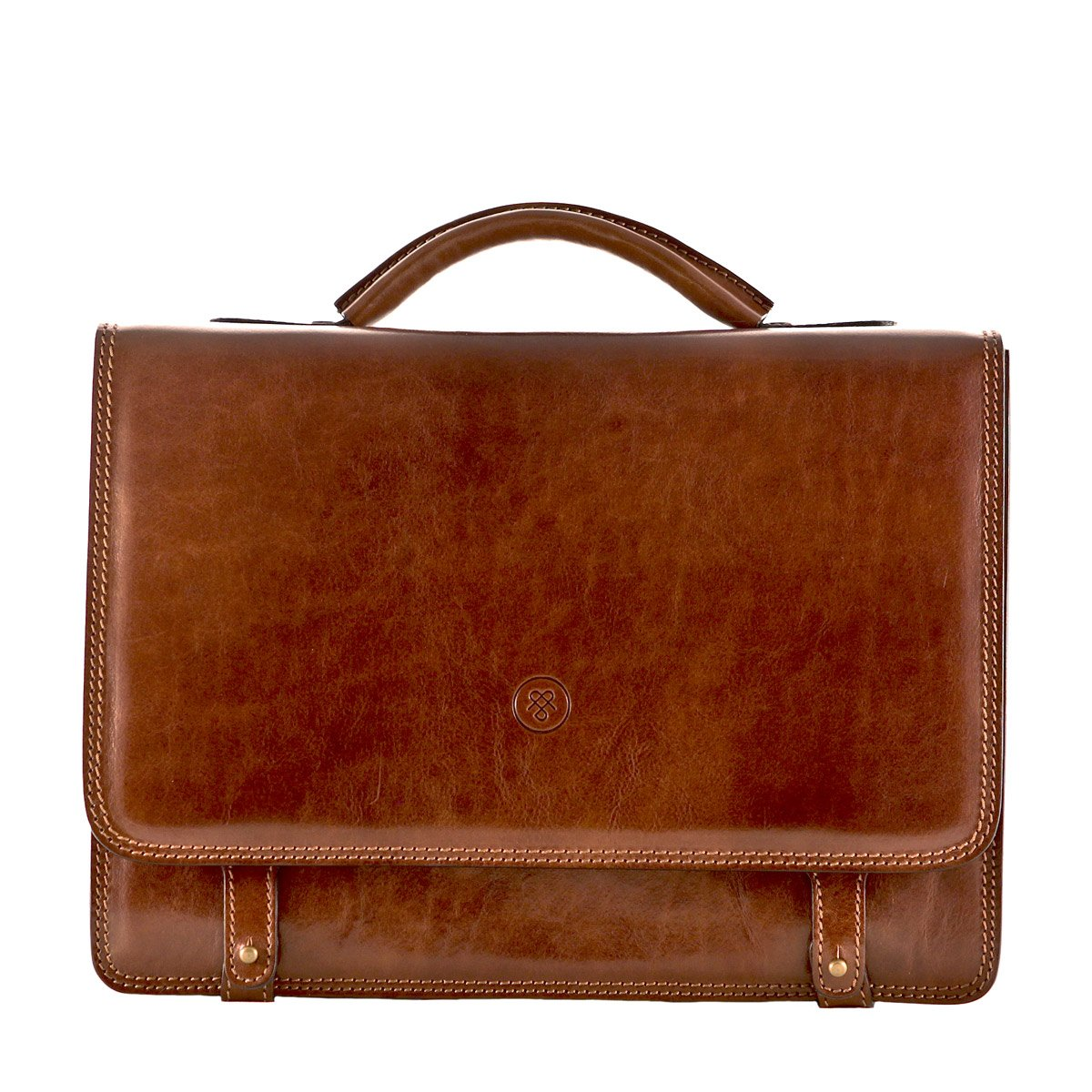 Maxwell Scott Personalized Luxury Tan Mens Leather Satchels (The Battista) - One Size by Maxwell Scott Bags (Image #1)