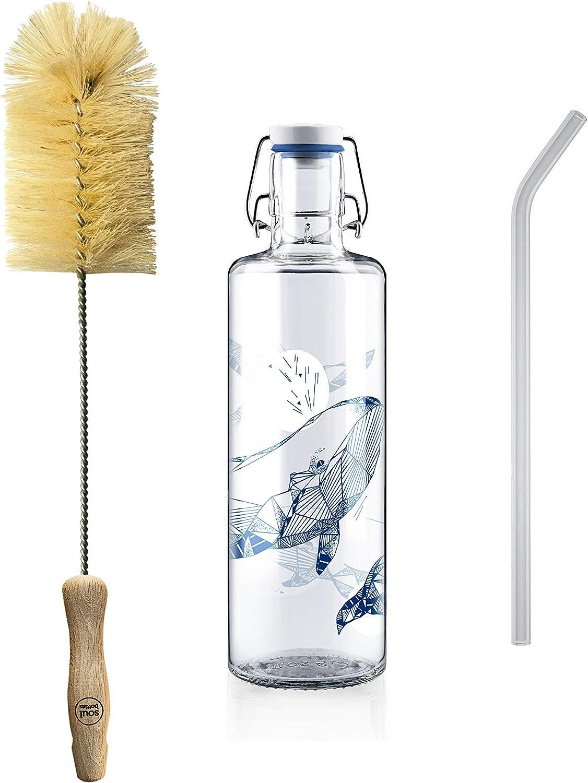 Soulbottles - Set de 1,0 l • souldiver • Botella de vidrio • Incluye soulbrush y soulstraw • vegano, sin plástico, respetuoso con el medio ambiente, sostenible: Amazon.es: Bricolaje y herramientas