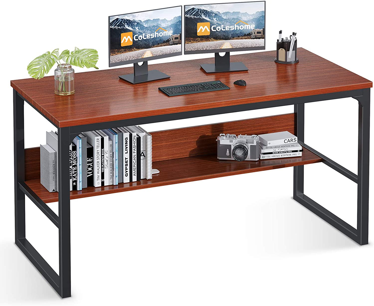 """Coleshome Computer Desk with Bookshelf, 47"""" Office Desk with Storage, Super Sturdy Writing Desk for Home Office, Teak"""