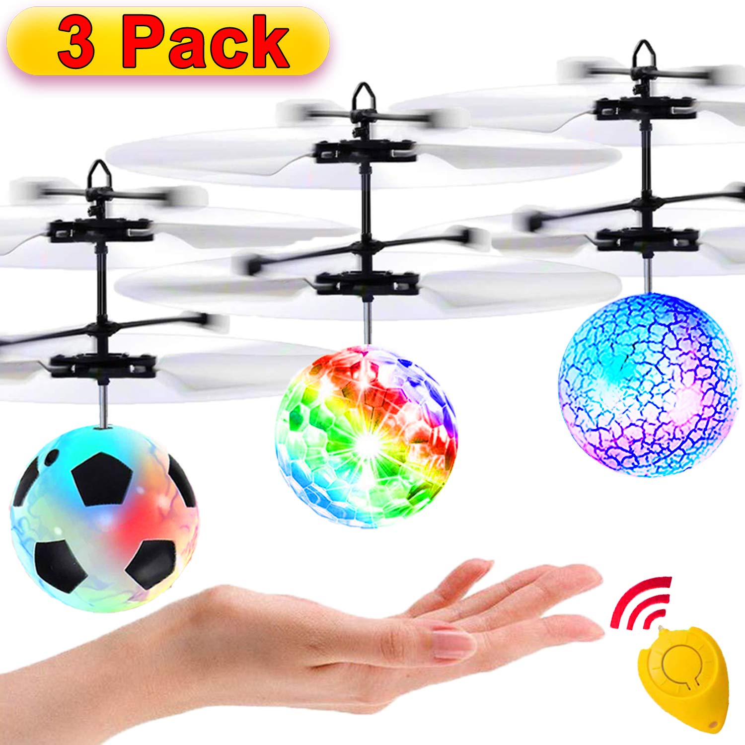 3 Pack Flying Ball Kids Toys RC Flying Toys Hand Control Helicopter Infrared Induction RC Flying Light Up Toys Indoor Outdoor Games Remote Control Drone Rechargeable by TOPLEE