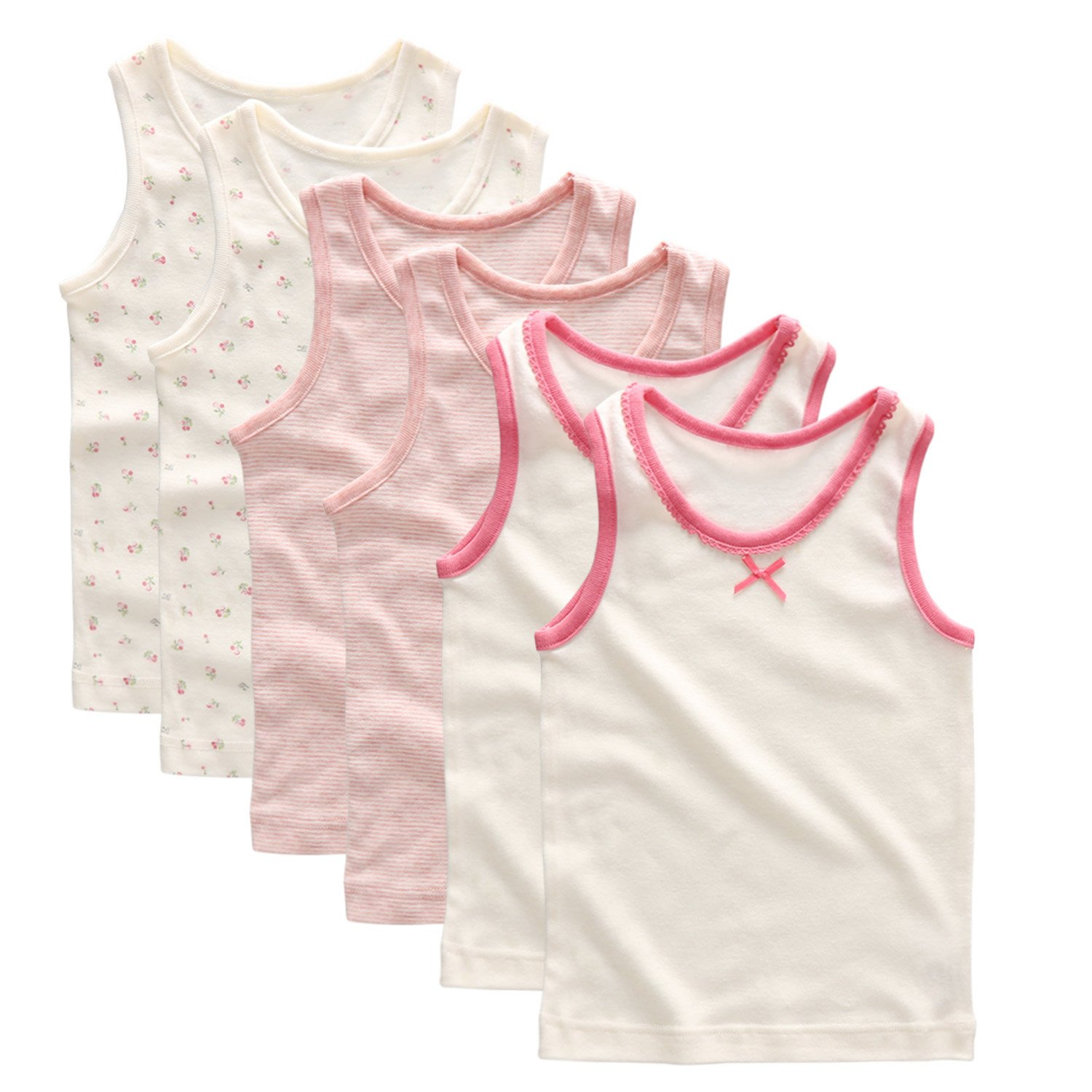 Baby Girls' Infant Toddlers 100% Cotton Tank Undershirt Tees 6 Packs Pink Size 3-4T by Coodebear