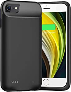 Battery Case for iPhone 6/6s/7/8 /SE 2020, Upgraded 6500mAh Slim Rechargeable Power Charging Case for iPhone 6/6s/7/8 /SE 2020 (2nd Generation) Extended Battery Pack Protective Charger Case (Black)