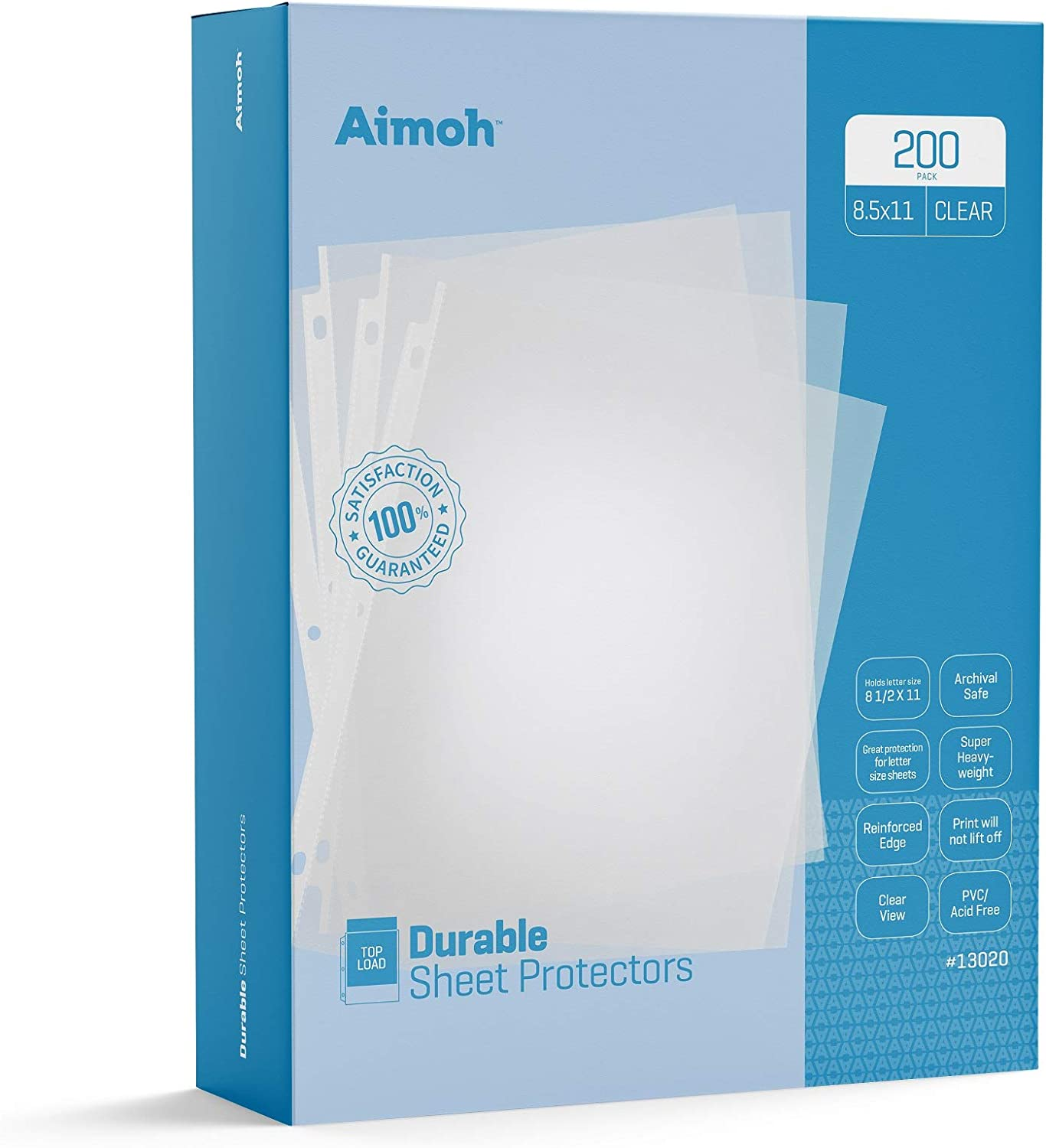 Aimoh Durable Clear Presentation Sheet Protectors 200-Count – Page Size – Fits 8.5 x 11 Paper – Reinforced Edge – 3 Hole Design – 9.25 x 11.25 – Top Load (13200)