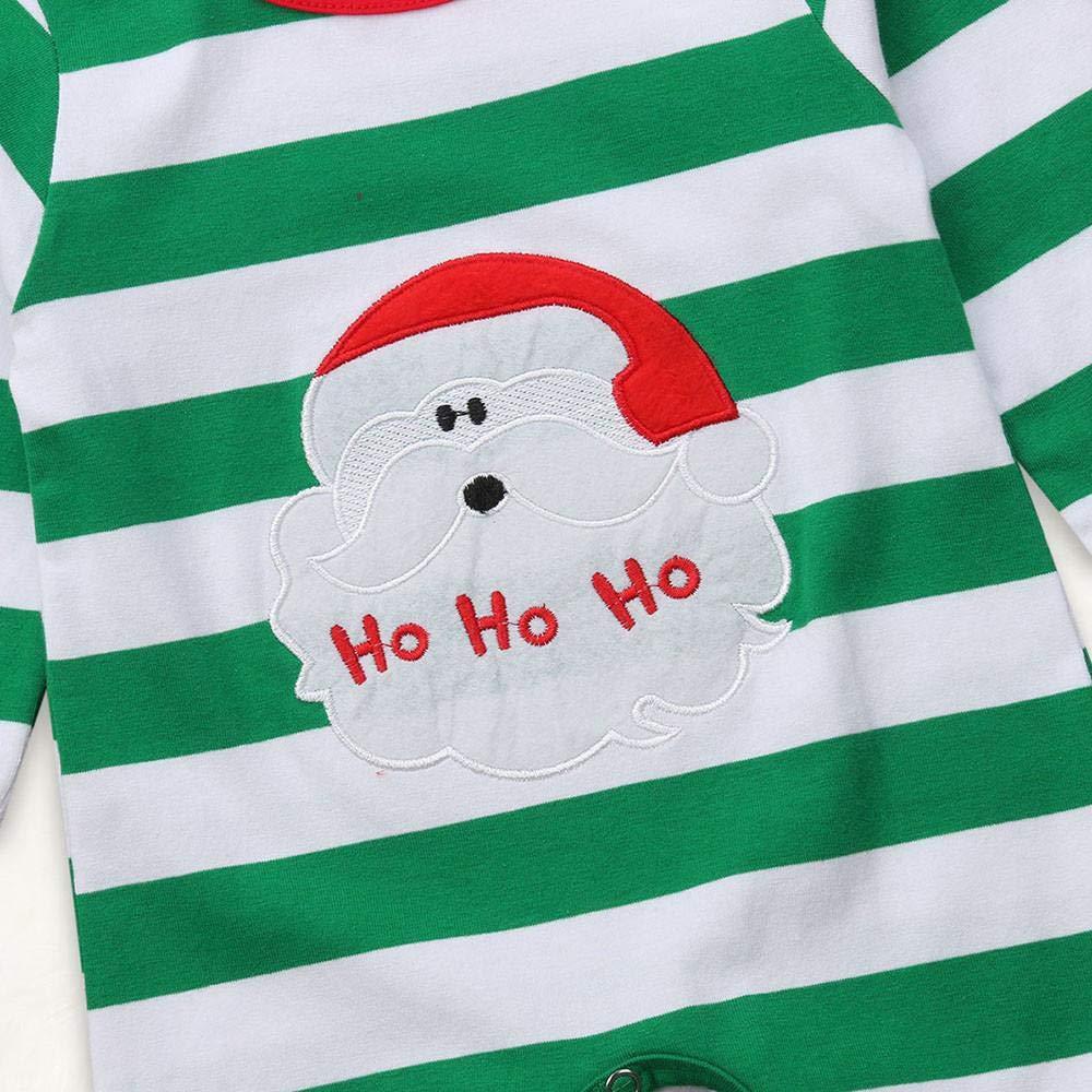 Andreas Galleria Baby Girls Rompers Christmas Santa Print Striped Jumpsuit