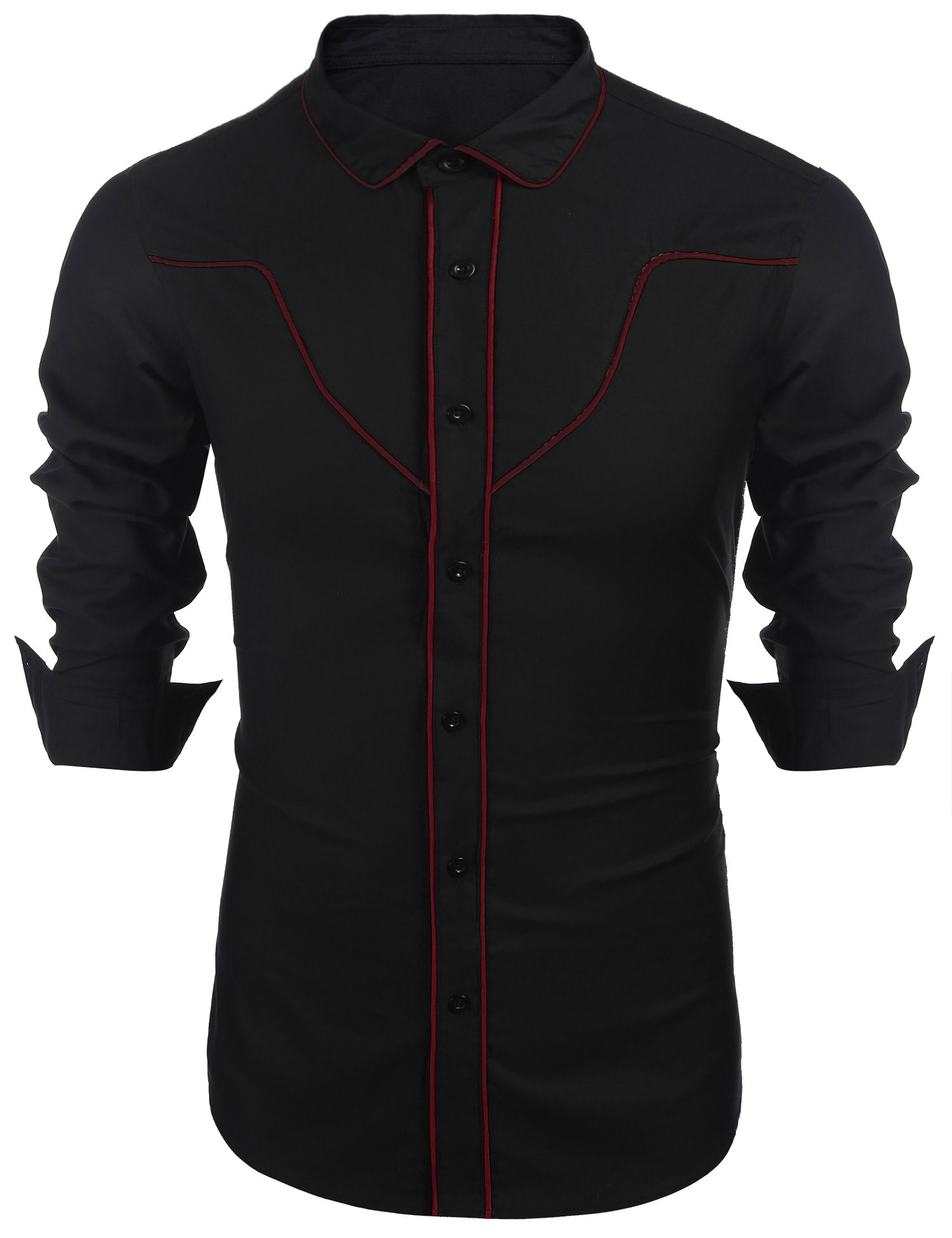 COOFANDY Mens Button Down Cotton Retro Western Cowboy Contrast Piping Shirt,X-Large,Red and Black