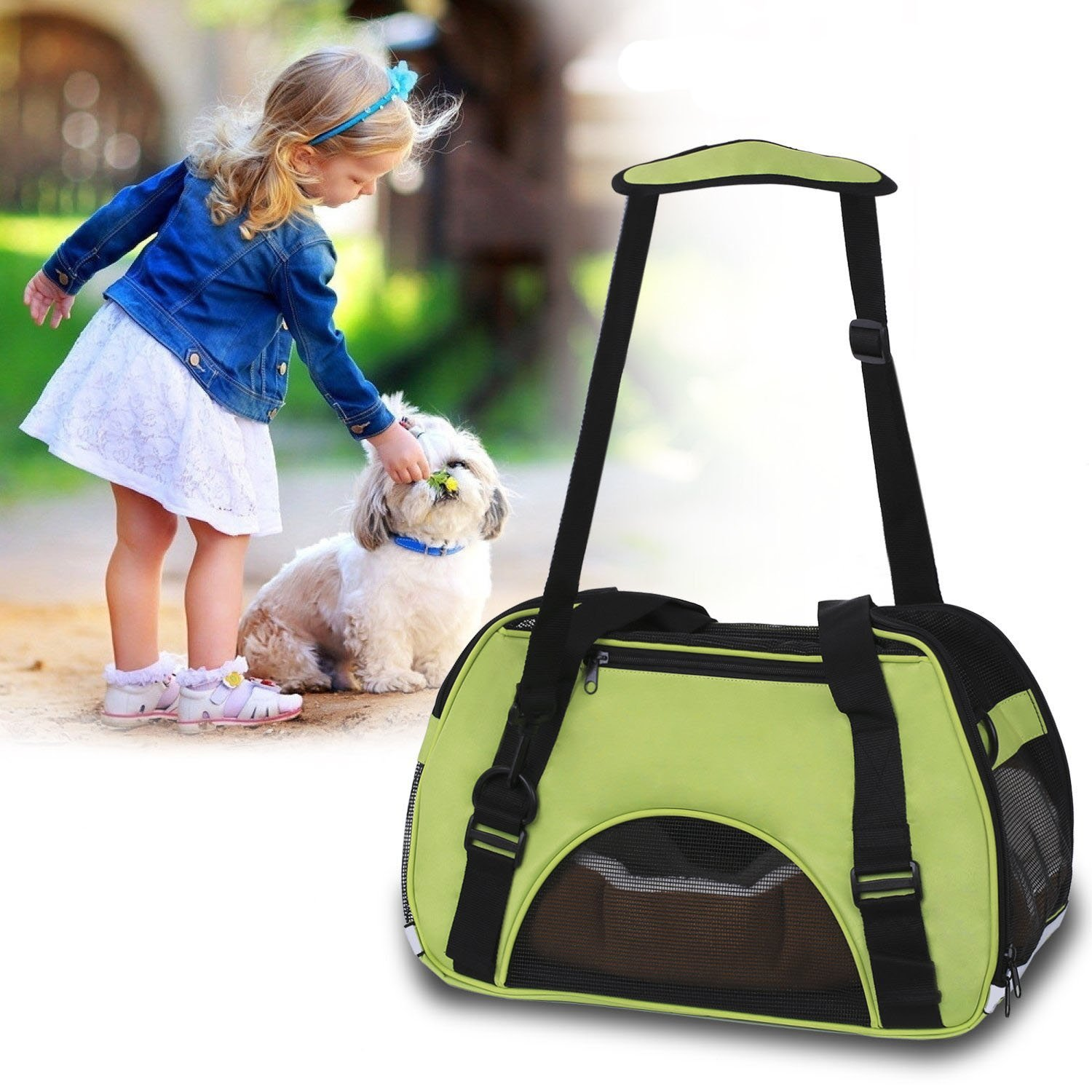 Power Q Pet Carriers Bag Cute Cuisine Breathable Soft-Sided Pet Carrier Cats Dogs Travel Crate Tote Portable Travel Handbag Shoulder Bag Outdoor
