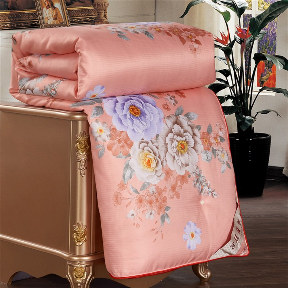 KTLRR Luxury Super Soft Summer Comforters,Reactive Printing Flowers Thick/Thin Quilt Blanket,Comfortable and Breathable Zipper Design Polyester Cotton Filling Bed Quilt (Red, 200 x 230cm, 3kg)