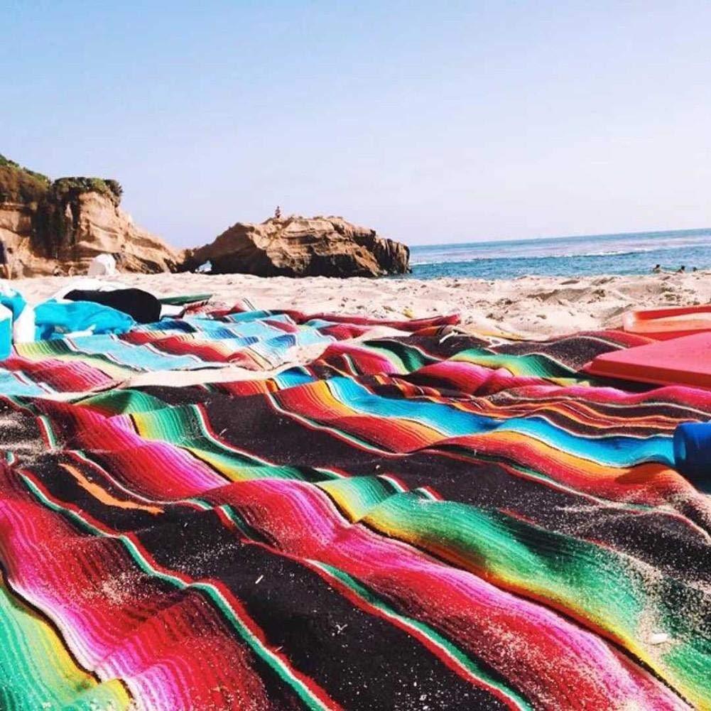 Kitabetty Manta de Sarape Mexicana de Color Arco Iris Manta de Playa de algod/ón Tejida a Mano Tapicer/ía de Picnic para tapicer/ía para Mantas de mant/ón//Toallas de Playa//Mantel