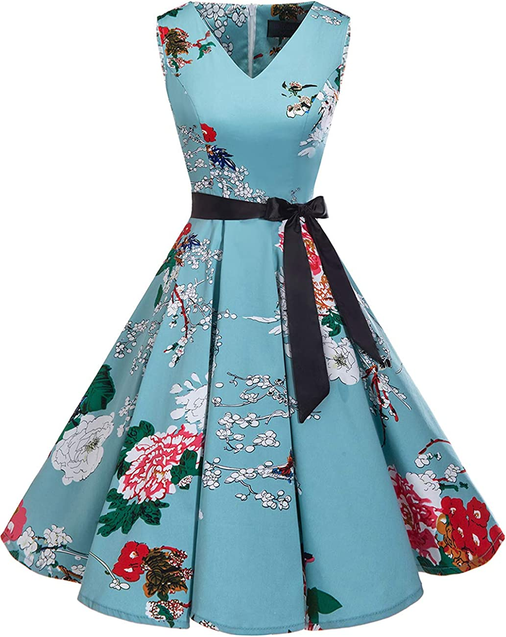 bridesmay 1950er V-Ausschnitt Kleid Vintage Cocktailkleid Rockabilly Retro Schwingen Kleid Faltenrock
