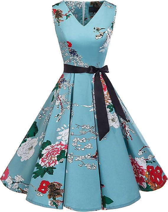 TALLA 3XL. Bridesmay Vestido de Cóctel Fiesta Mujer Verano Años 50 Vintage Rockabilly Sin Mangas Pin Up Floral 3XL