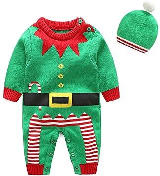 Shenhai Ropa Infantil Serie navideña Suéter de bebé Mameluco de algodón Batas de bebé, Verde navideño, 66 CM: Amazon.es: Hogar
