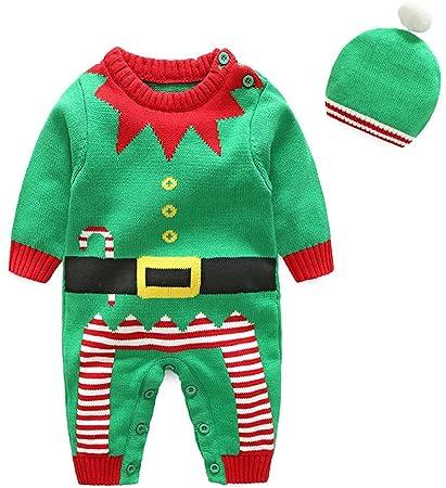 Shenhai Ropa Infantil Serie navideña Suéter de bebé Mameluco de algodón Batas de bebé, Verde