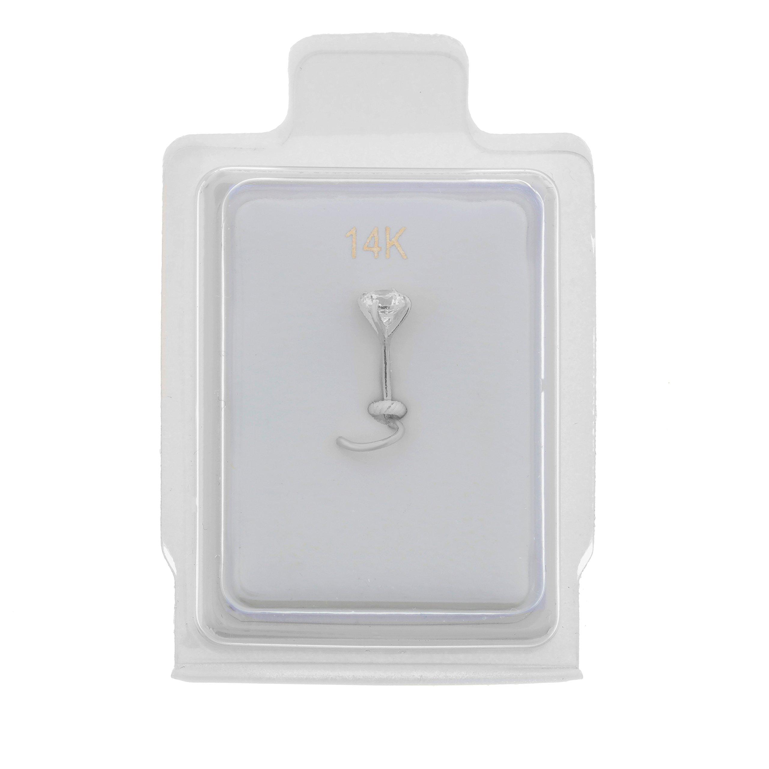 14K White Gold 2mm White Cubic Zirconium Nose Ring Curve Stud Twist Screw 22G
