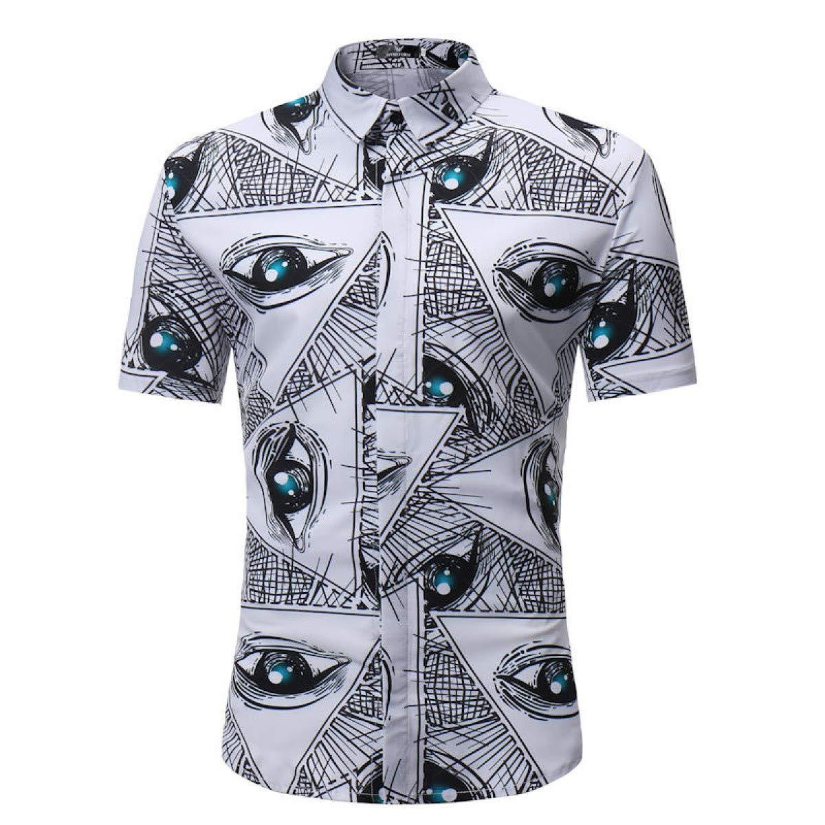 Aloha Shirt Men Men Shirt Summer Style Palm Tree Print Shirt Men Casual Short Sleeve Shirt