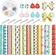 Caydo 15PCS Fruit Food Printed Faux Leather Sheet with Earring Hooks, Hair Clips for Leather Earring and Hair Bows Making (8.3 x 6.3inch)