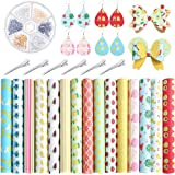 Caydo 15PCS Fruit Food Printed Faux Leather Sheet with Earring Hooks, Hair Clips for Leather Earring and Hair Bows…