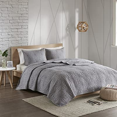 Urban Habitat Caden Cal King Set-Grey, Geometric – 3 Piece Teen Girl Boy 100% Cotton Bed Quilted Coverlet, King King: Home & Kitchen