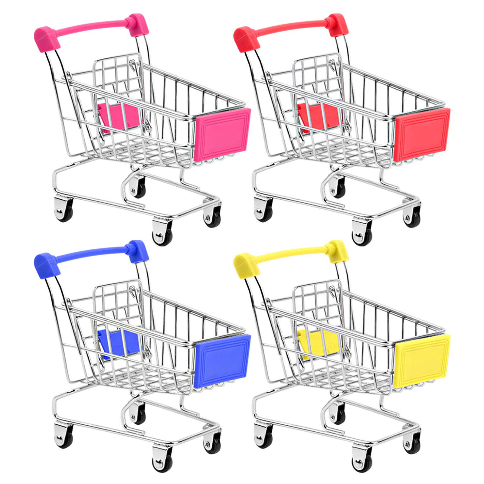 HNYYZL Bestsupplier Mini Supermarket Handcart, 4 Pcs Mini Shopping Cart Supermarket Handcart Shopping Utility Cart Mode Storage Toy
