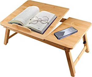 Laptop Desk for Bed Sofa with Adjustable Tilting Top,100% Bamboo Nature Portable Breakfast Serving Bed Tray Table with Folding Legs for Computer iPad Book Study Writing Reading and Eating