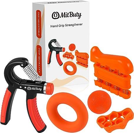 MitButy Hand Grips - Kit de 5 Fortalecedores de Manos: Hand Grip Ajustable (10 a 40 kg), Ejercitador de Dedos, Anillo de Fuerza, Banda de Dedos y ...