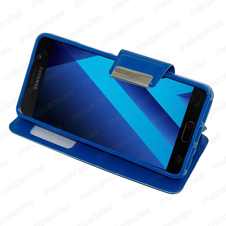 Meloenvias Funda para Samsung Galaxy A3 2017 Carcasa Tipo Libro con Funcion Soporte Cuero Cierre de iman con Ventana Color Azul