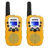 Retevis RT-388 PMR446 Kids Walkie Talkie 0.5W 8 Channel 2 Way Radio for Children with Flashlight (Yellow,1 Pair)