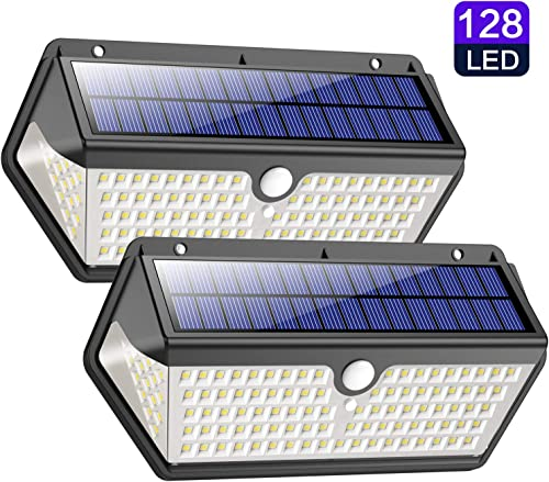 Solar Lights Outdoor, Wireless 128 LED Motion Sensor Lights IP65 waterproof Security Wall Light with 270 Motion Angle Solar Night Light for Driveway, Pathway, Garden, Patio, Fence, Garage etc 2 pack