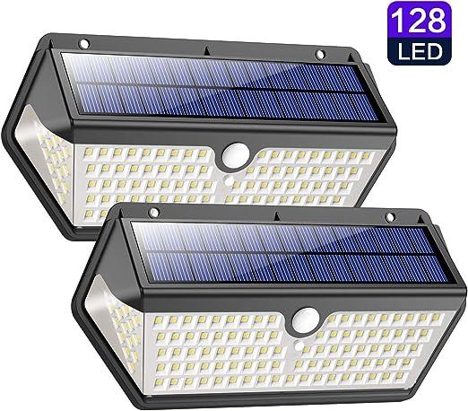 Lampe Solaire Extérieur,【Version étanche Durable】Trswyop 128 LED Lumière Solaire avec Détecteur de Mouvement 2200mAh Sans Fil Applique éclairage