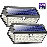 Luz Solar Exterior,Trswyop [2 Unidades-128LED-2200mah] Luces Solares Foco Solar Exterior con Sensor de Movimiento, 270°Gran Angular Impermeable Lampara Solar Exterior Para Jardín
