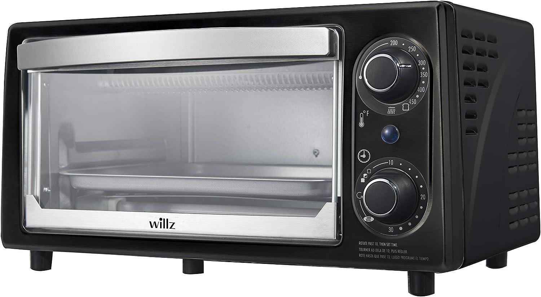 Willz KWS1010 Countertop Toaster Oven, 4 Slice, Matte Black