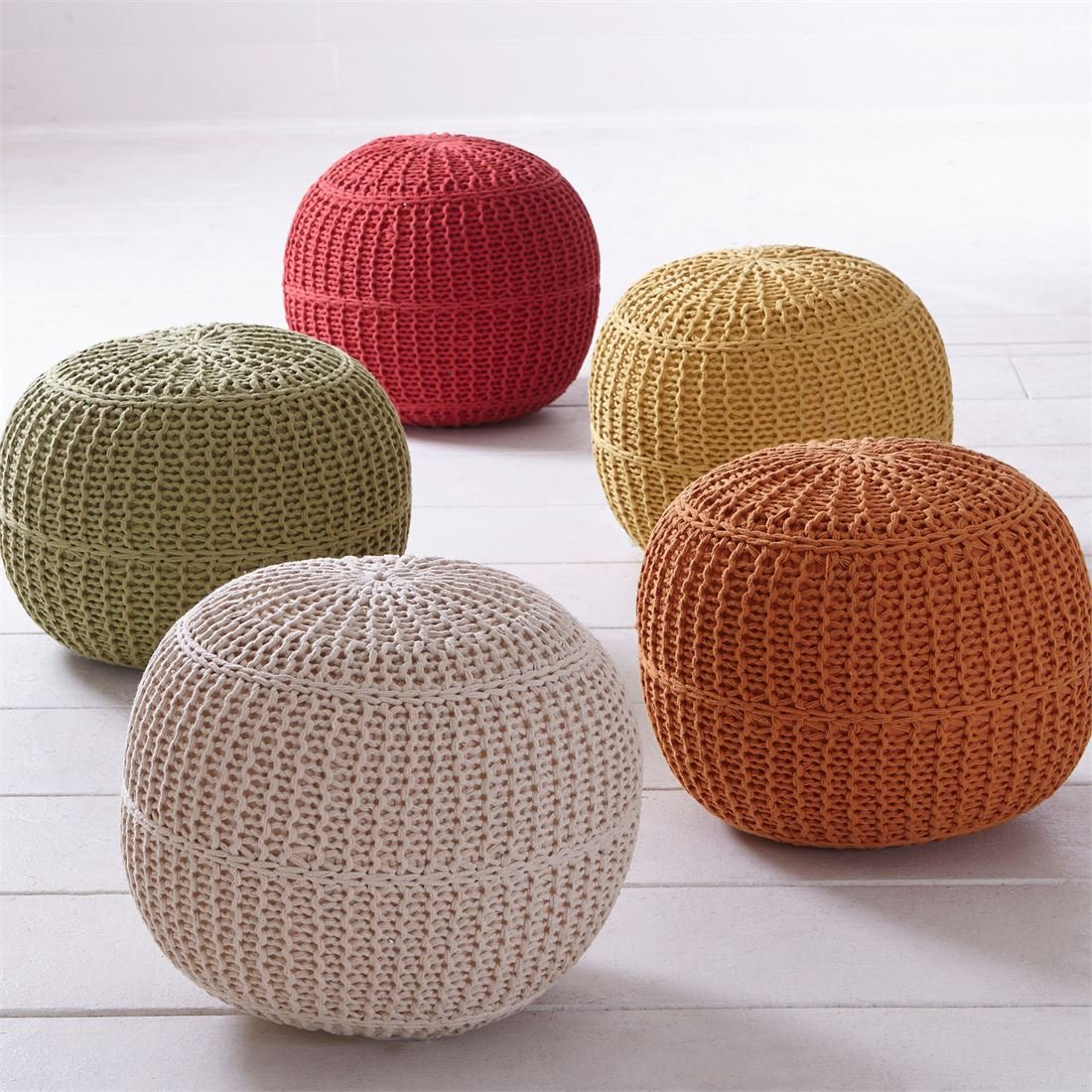 amazoncom brylanehome handknitted ottoman pouf (blue  - amazoncom brylanehome handknitted ottoman pouf (blue) kitchen  dining