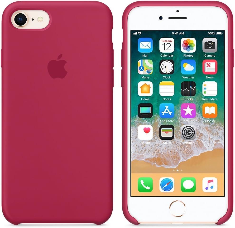 Funda para iPhone 7/8 Carcasa Silicona Suave Colores del Caramelo con Superfino Pelusa Forro,Anti-rasguños Teléfono Caso para Apple iPhone 7/8 (Rojo Rosa)