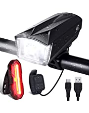OMERIL Ensemble Lumière Vélo, Lampe Velo LED Puissante Rechargeable IP65 Etanche Avant 6 Modes + Arrière 5 Modes avec Sonnette 120dB et Contrôler à Distance pour Cyclysme VTT, VTC, Bicyclette etc
