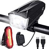 OMERIL Luces Bicicleta Delantera y Trasera Linterna Bicicleta Recargable, IP65 Resistente con 6 Modes, Bocina y Luz para…