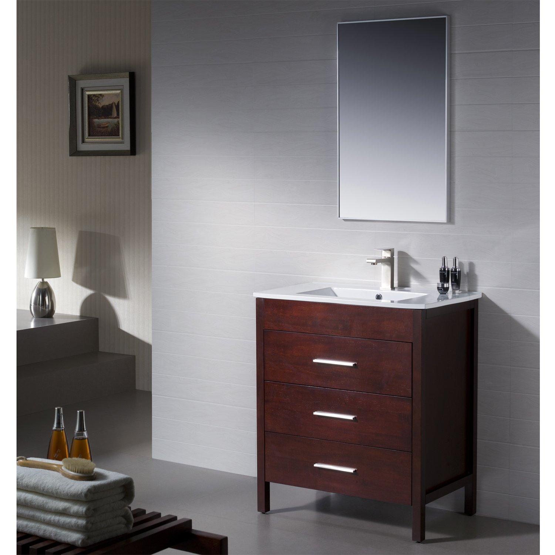 Amazon.com: Bathroom Vanity Morris 30 Dark Walnut with Porcelain ...